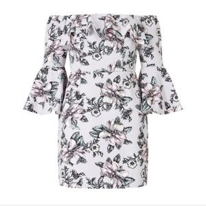 Miss Selfridge Lilac Floral Bardot Ruffle Dress 6